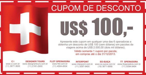 Evento Suíça no seu Coração distribui cupons desconto de US$100!